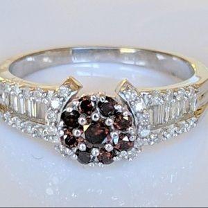 Genuine RED Diamonds White  Diamond Baguette Ring